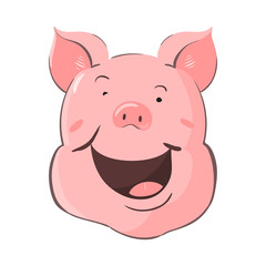Portrait of a pig. Piglet head with emotion. Cute piggy happy laughter. Zodiac symbol 2019.