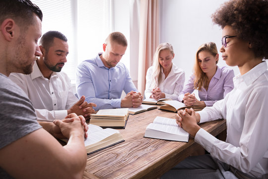 Group Of Young Multiethnic People Reading Bible