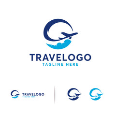 Simple Travel logo designs vector, Circle Travel Plane logo designs Template