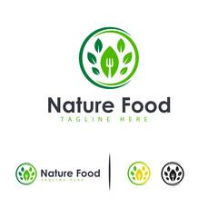 Nature Food logo designs concept vector, Healthy Restaurant logo symbol