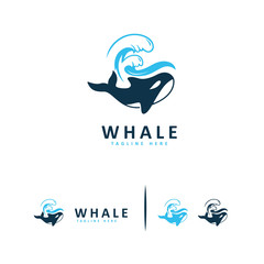 Whale logo designs symbol, Animal Whale logo template