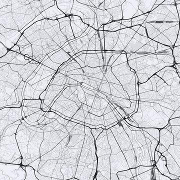 Light Paris city map. Road map of Paris (France). Black and white (light) illustration of parisian streets. Square format.