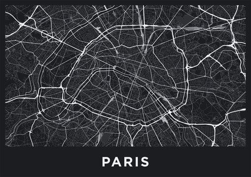 Dark Paris city map. Road map of Paris (France). Black and white (dark) illustration of parisian streets. Printable poster format (album).