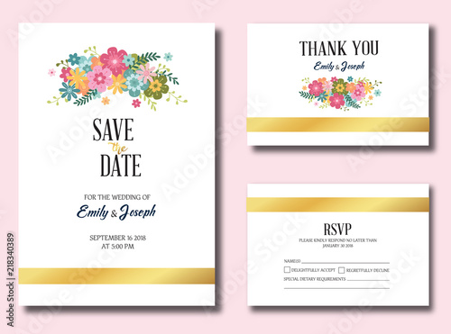 vector template set wedding invitation rsvp thank you save the date card
