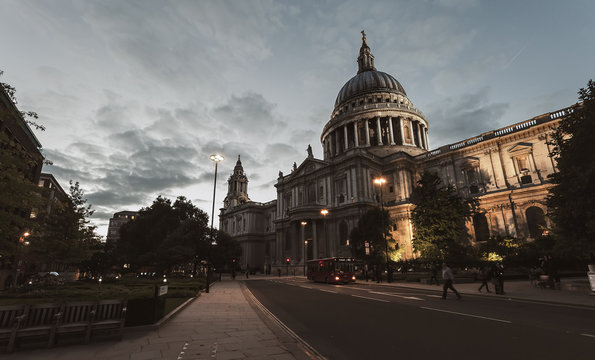 London city night view with St. Paul's Cathedral, England