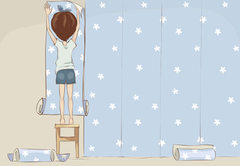 Wallpaper gluing / Girl doing repairs, funny vector illustration, background