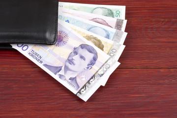Norwegian money in the black wallet
