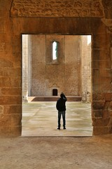 A man take a picture inside the unfinished Catholic church Santa Maria dello Spasimo in the Kalsa neighborhood in Palermo, Sicily, Italy.