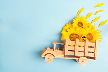 Wooden toy truck with yellow sunflowers in the back on blue background. Space for text.