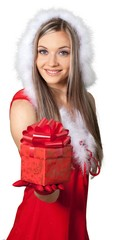 Beautiful blonde woman in Santa hat with gift