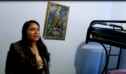 Still image taken from video of Miguel, aunt of Yaiser, who was separated from his mother at the U.S. Mexico border and is in detention, being interviewed at her home West Palm Beach