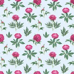 Watercolor peony flowers illustration. Seamless pattern