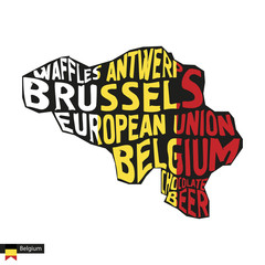 Typography map silhouette of Belgium in black and flag colors.