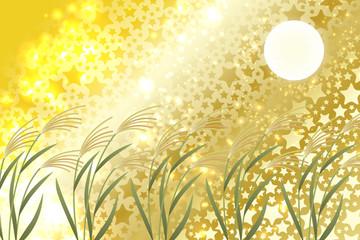 和風背景素材,イラスト,秋,風景,お月見,十五夜,満月,すすき,団子,月夜,夜空,夜景,日本文化,光