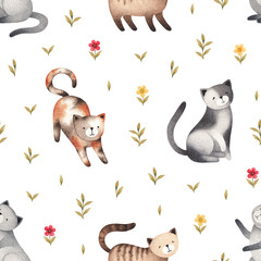 Watercolor illustration of cute cats. Seamless pattern