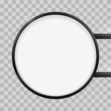 Round signage light box signboard. Vector circle lightbox sign box mockup