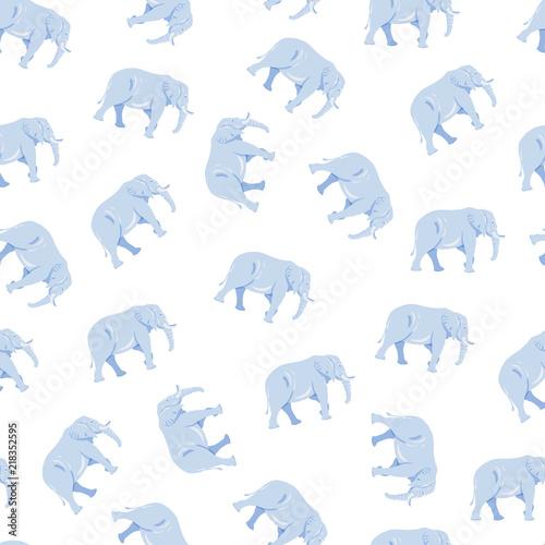 Cute Big Elephant Silhouette Seamless Pattern On White