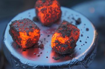 hot hookah coals, Lit coals for hookah, hookah tile, heat, fire, hot coals, Bowl with tobacco and coal