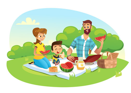 Happy family on a picnic. Dad, mom, son are resting in nature. Vector illustration in a flat style.