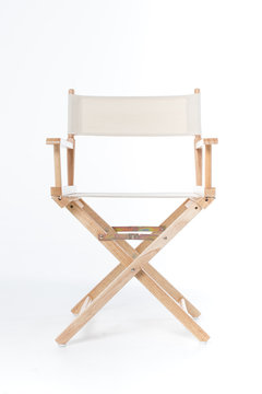 director chair made of wood and fabric well Comfortable sitting on white backdrop, copy space