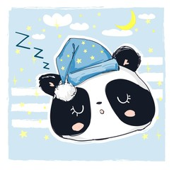Hand Drawn Sleepy Panda Bear, Vector Illustration