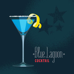 Blue Lagoon cocktail in martini glass vector