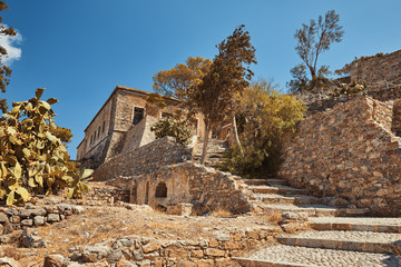 Ruins of Spinalonga island in Crete Greece