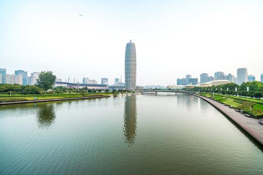 Zhengzhou landmarks and water reflections