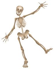 Vector cartoon human skeleton dancing halloween party