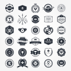 Emblems, badges and retro seals set - blazons and labels