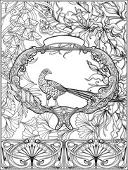 Poster with decorative flowers and carp fish in art nouveau style. Page for the adult coloring book