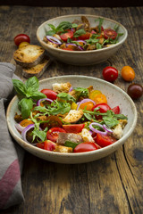 Panzanella made of roasted Ciabatta, rocket, red onions, tomatoes and basil