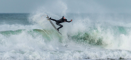 Airborne Surfer, Fistral, Newquay, Cornwall