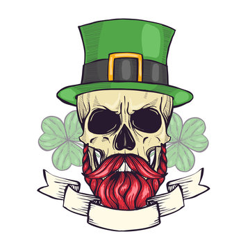 Color handdrawn skull of leprechaun