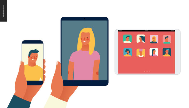 Bright people portraits - hand drawn flat style vector concept illustration of video call, man and woman - a hand holding phone and tablet with a video chat, and a tablet with a screen with app icons