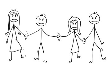 Cartoon stick drawing illustration of four children, two boys and girls, walking together while holding hands.