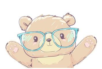 Fotoväggar - Bear vector illustration Hand Drawn Illustration of Teddy Bear