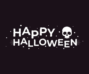 Happy Halloween. Vector lettering with decor element for print, banners or posters.