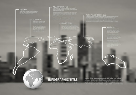 Black and White World Map Infographic Layout