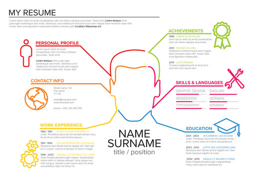 Multicolored Line Art Resume Layout