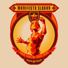 Revolution badge of Women raised fist. Propaganda style. Protest fist. Retro revolution poster design.