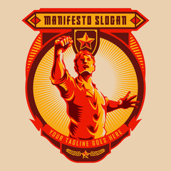 Revolution badge of Men raised fist. Propaganda style. Protest fist. Retro revolution poster design.