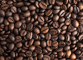 Roasted coffee of coffee beans texture background