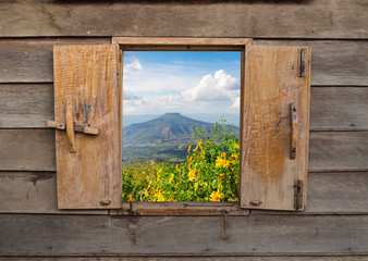 View of old vintage wooden windows, wooden frame of rural landscape Wall mural