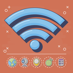 wifi symbol with innovation and technology related icons around over red background, colorful design. vector illustration