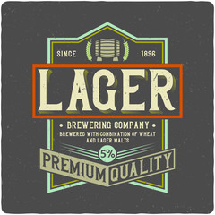 Beer label with frame. Isolated on dark background