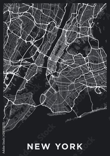 Dark New York City map. Road map of New York (United States). Black ...
