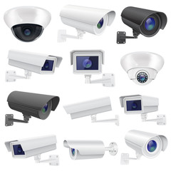CCTV camera. Large collection of white and black security surveillance system. Wall and ceiling mounted