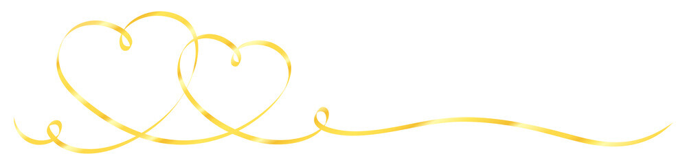 2 Connected Golden Calligraphy Hearts Ribbon Banner