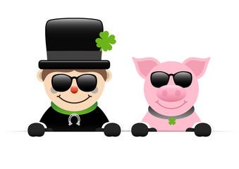 Chimney Sweeper & Pig Sunglasses Holding Banner